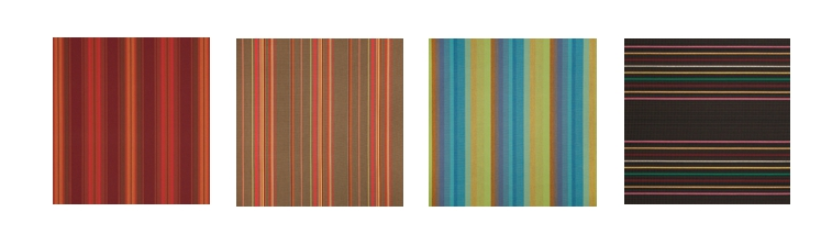 3.   Customize Your Interior With Sunbrella Stripes:       Red Tones, Brown Tones, Blue/Green Tones or Black/Brown Tones.