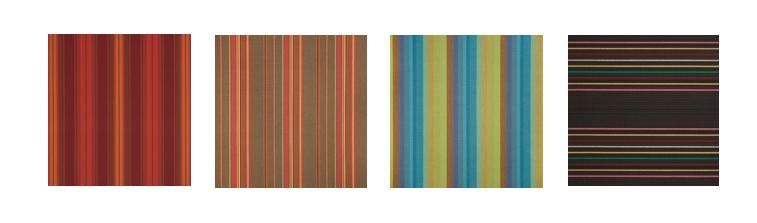 3.  Customize Your Interior With Sunbrella Stripes:   Red Tones, Brown Tones, Blue/Green Tones or Black/Brown Tones.