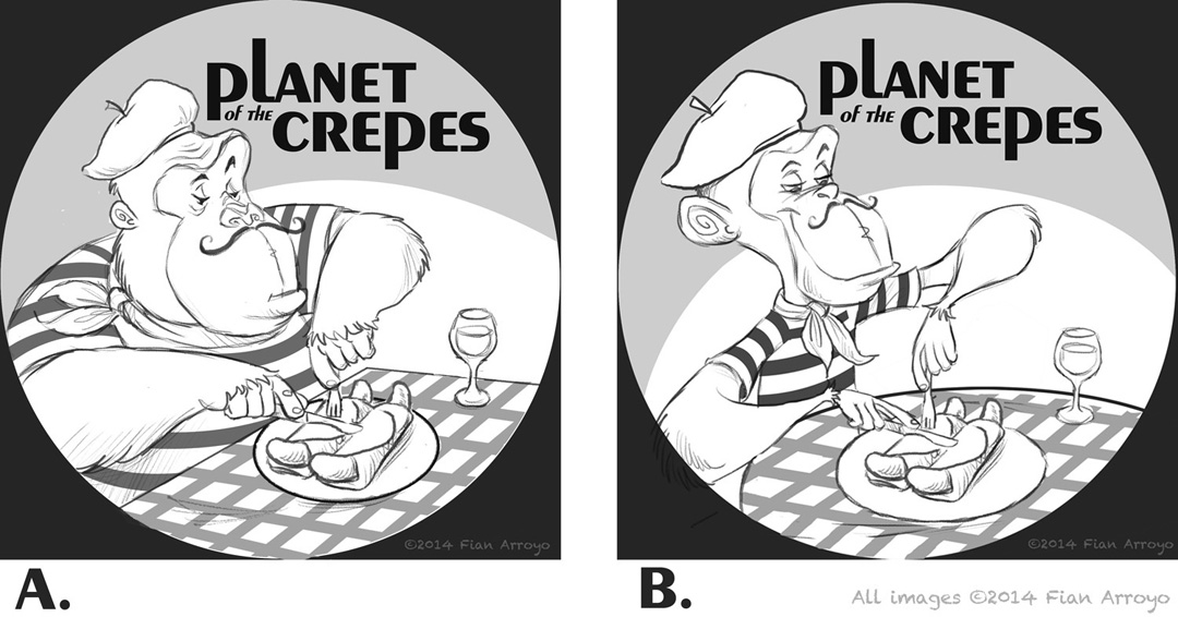 Planet Of The Crepes Logo Sketches