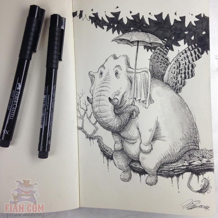 Sunday Night Flying Elephant Doodle