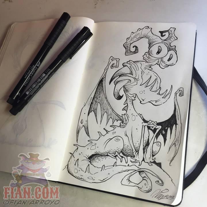 Nervous Dragon Sketchbook Doodle