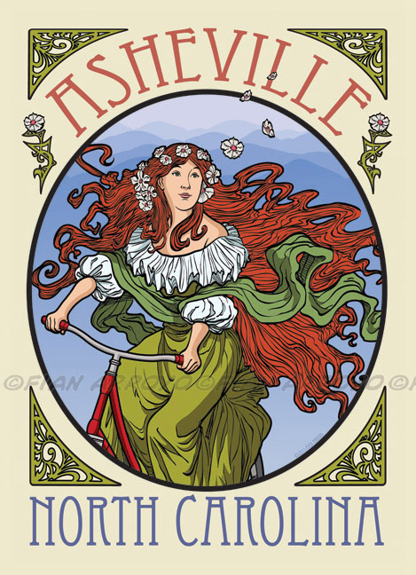 Asheville Art Nouveau Travel Poster