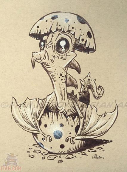 Inktober Drawing 13. CrackleSaurus