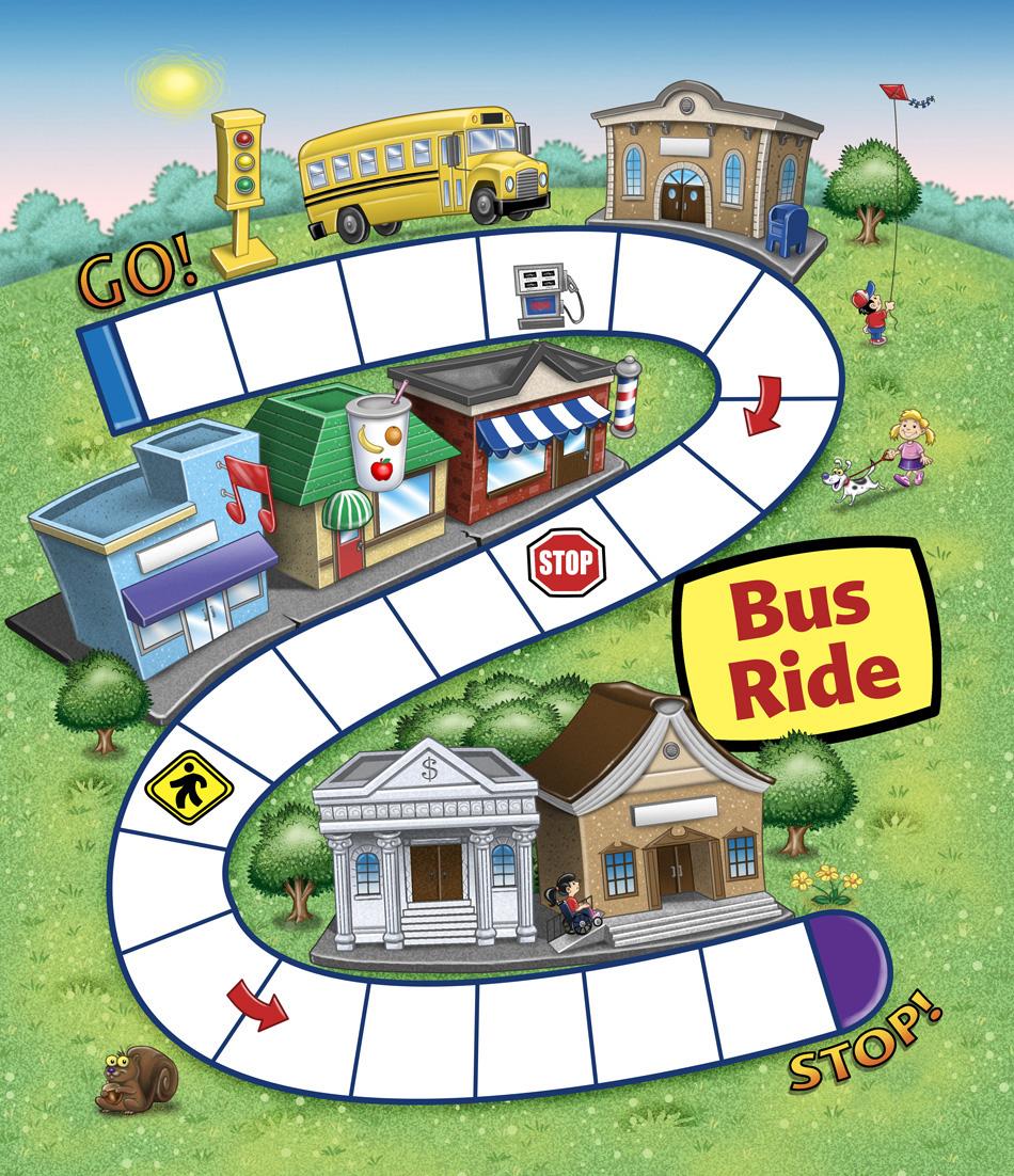 Bus Ride Educational Game board