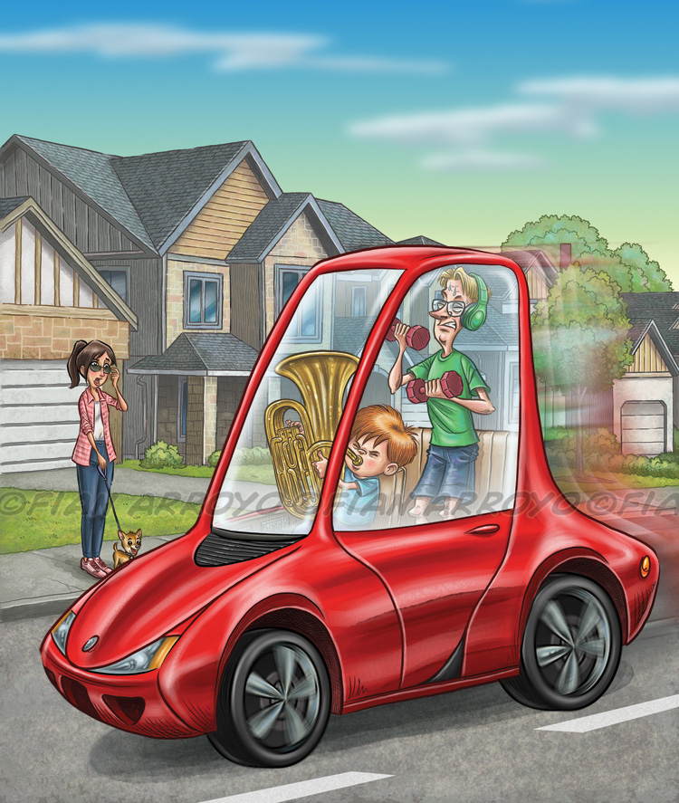 I created this illustration for Stanford Universities alumni magazine Stanford Magazine. It along with some inside illustrations, were for a story on the future of driverless cars and artificial intelligence. Just think of all the things you could get done while in a car if you didn't have to worry about driving. I'm just saying… :-)