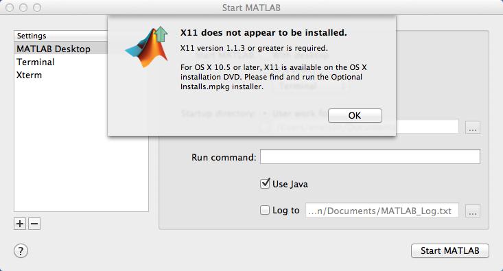 X11 Error with Matlab 2008b on Mavericks