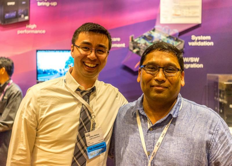 Eldon Nelson (left) and Ambar Sarkar, DVCon Program Chair (right) at Awards Presentation