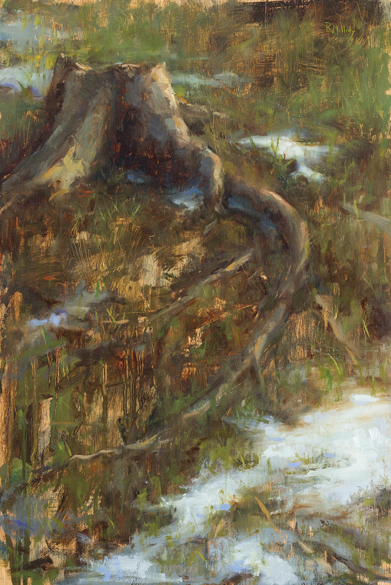 Backyard Stump, 16 x 24 inches, Oil on birch