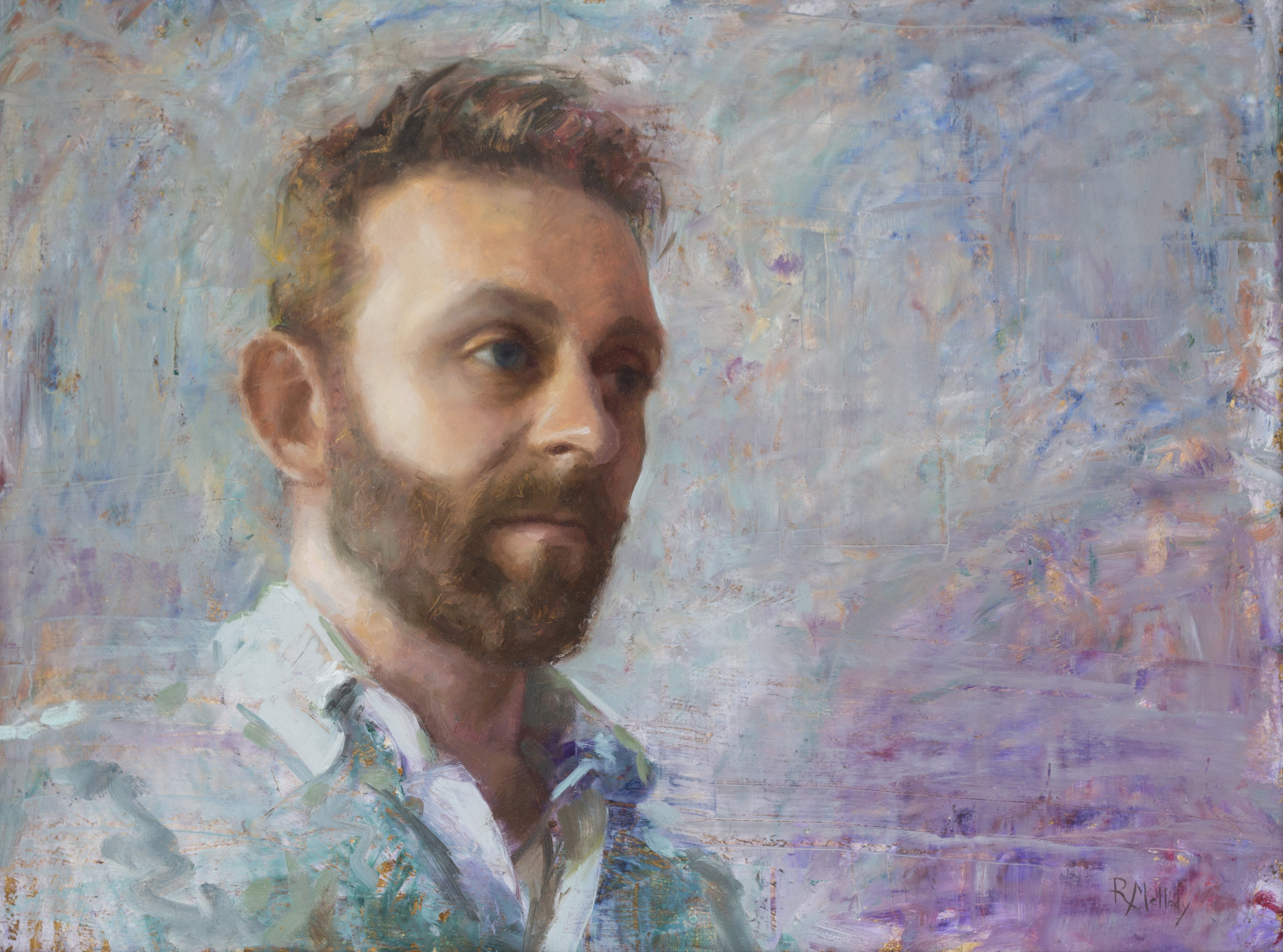Self portrait at thirty-two, 24 x 18 inches, Oil on panel