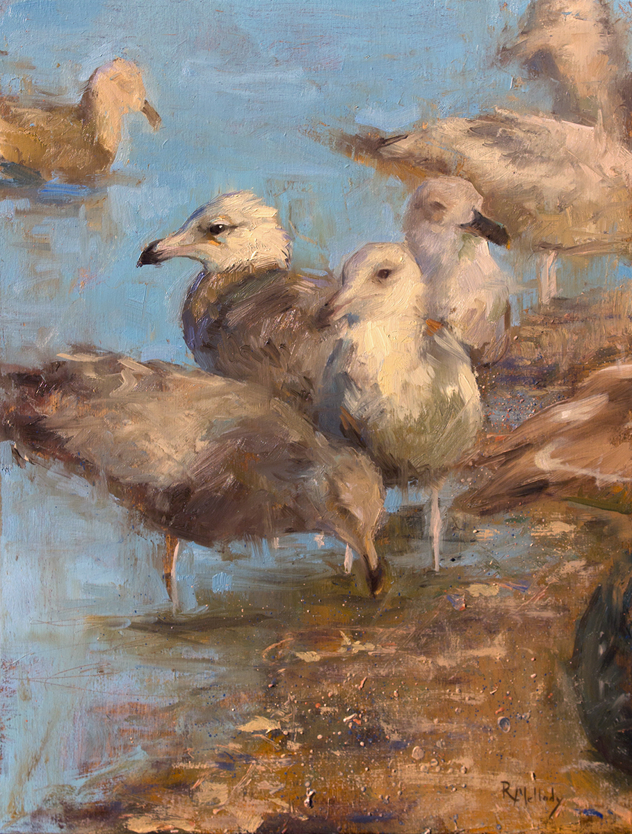 Connecticut Gulls, 12 x 16 inches, Oil on birch