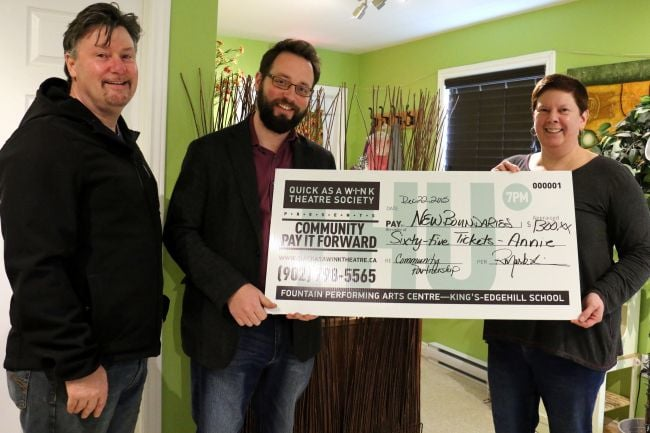 Photo credit: Carole Morris Underhill - The Hants Journal   Quick As A Wink Theatre representatives Robert Lee and Mark Wainman presented   Marilyn Thomas, the executive director of New Boundaries, with a donation of 65 tickets for their upcoming show   Annie.