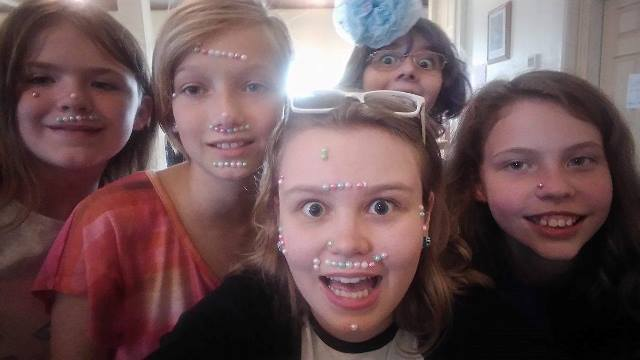 """A post-gemstone makeover selfie. The campers made me look so """"pretty"""" ... Haha!"""