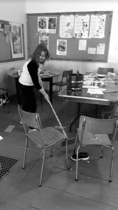 A candid shot of me from camp last summer. When you love your job, even sweeping up after craft time is fun!  Photo credit: Katrina Salmon