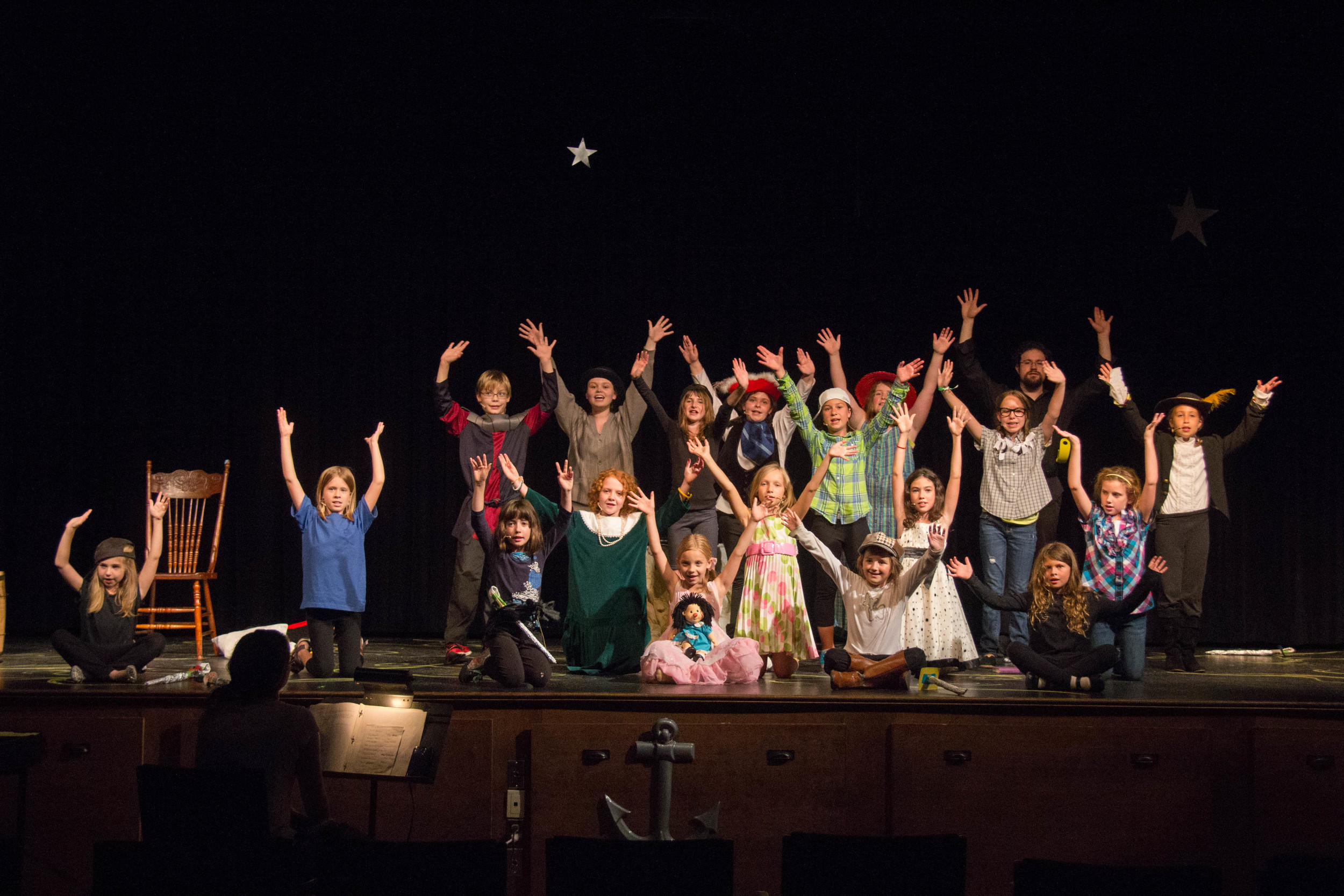 A snapshot from QAAW's 2014 Drama Camp Performance of  Captains and Crews , photographed by Leijsa Chiasson. It looks like everyone had a lot of fun!