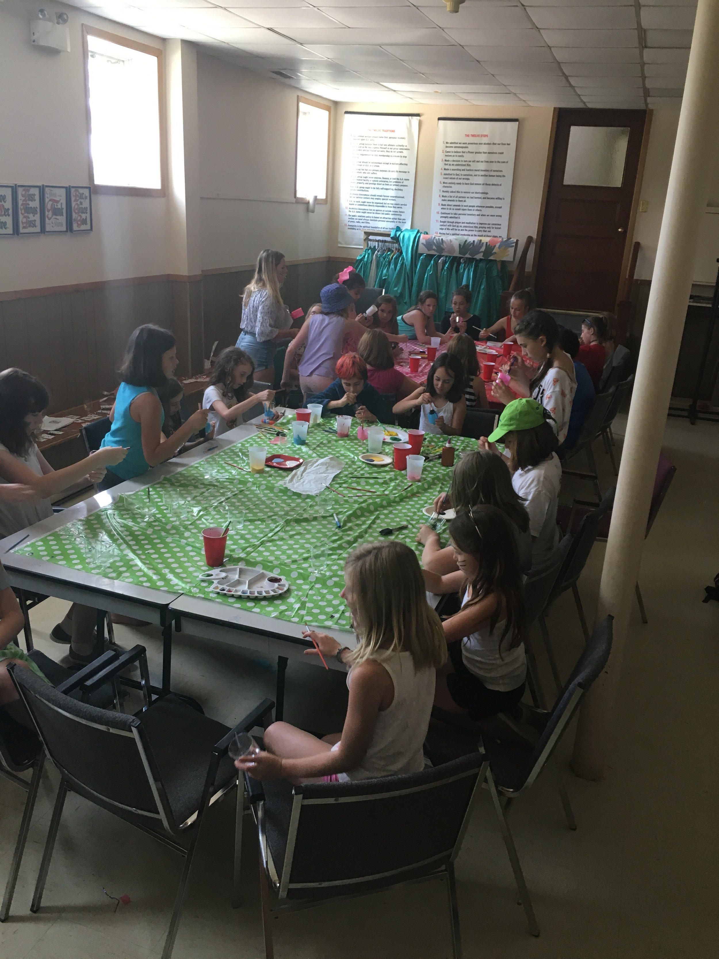The campers painting the tea cups for the tea part scene in Alice In Wonderland  Photo Credits: Holly Lohnes
