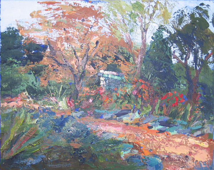 Gazebo at WPA Garden, 16x20 acrylic on canvas