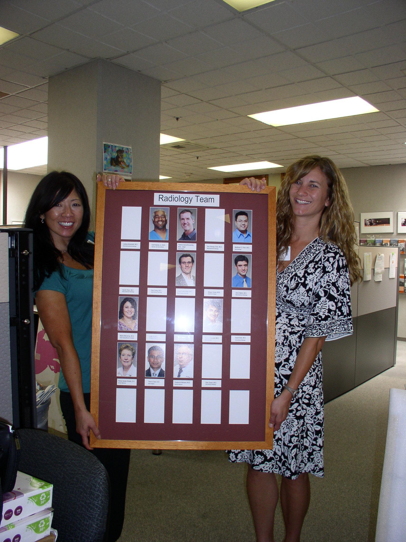 Sutter Cancer Center Marketing Team with Radiology Staff Framed Photos
