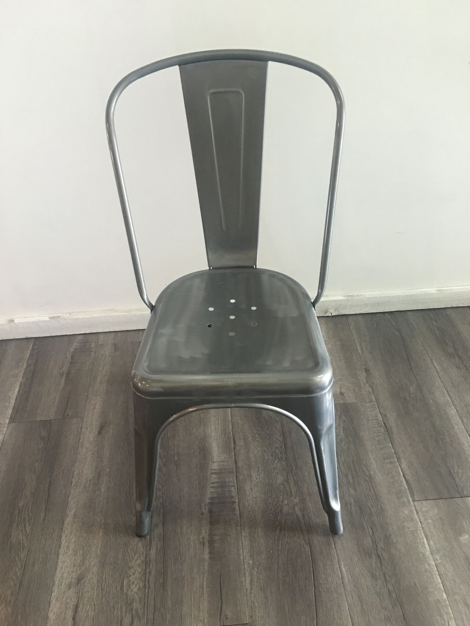 French Galvanized Steel Bistro Chair Quantity: 2