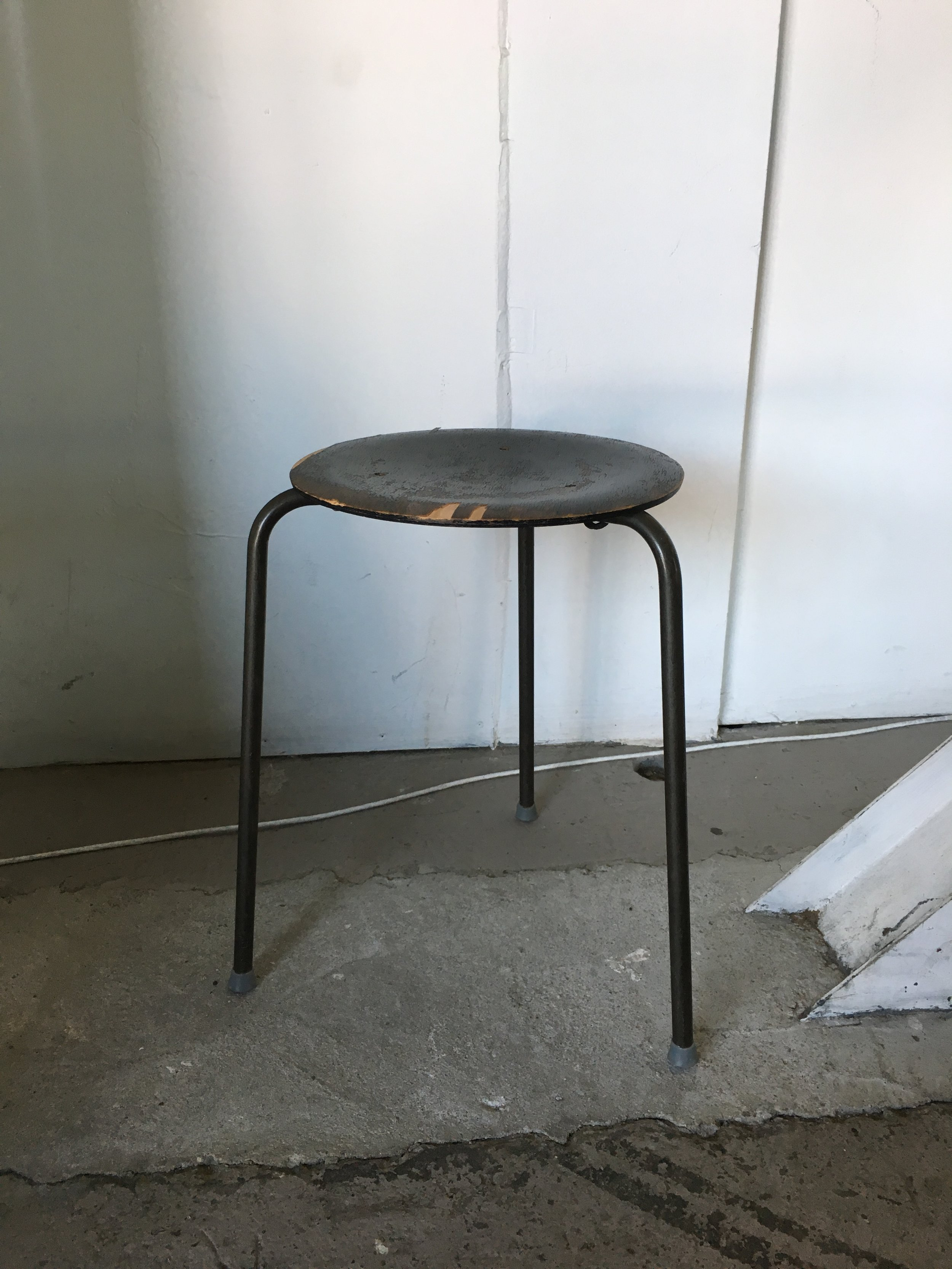 Antique Wooden Stool with Metal Legs Quantity: 2