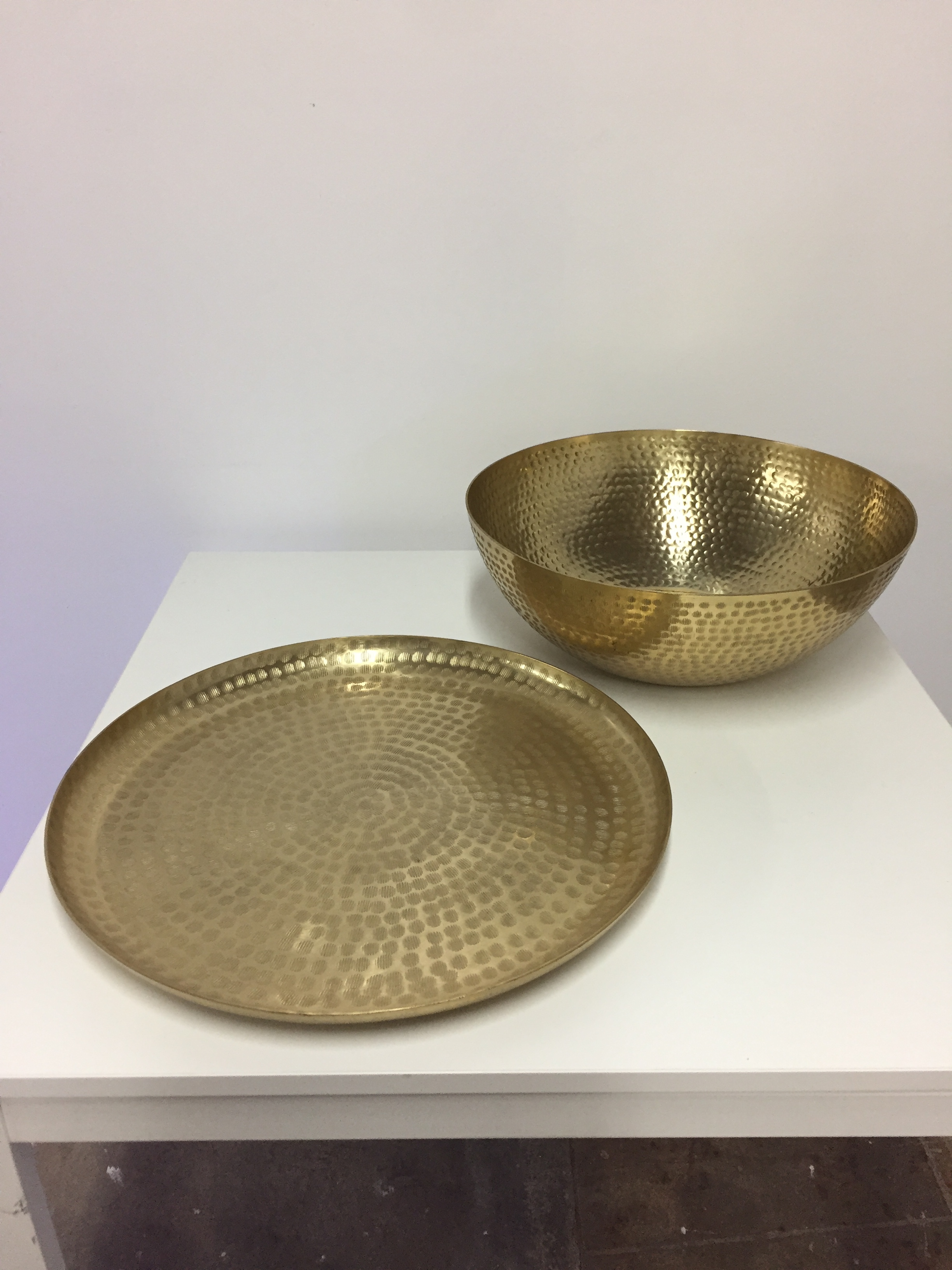 Gold Hammered Tray and Bowl  QTY:1 Price: $25 set