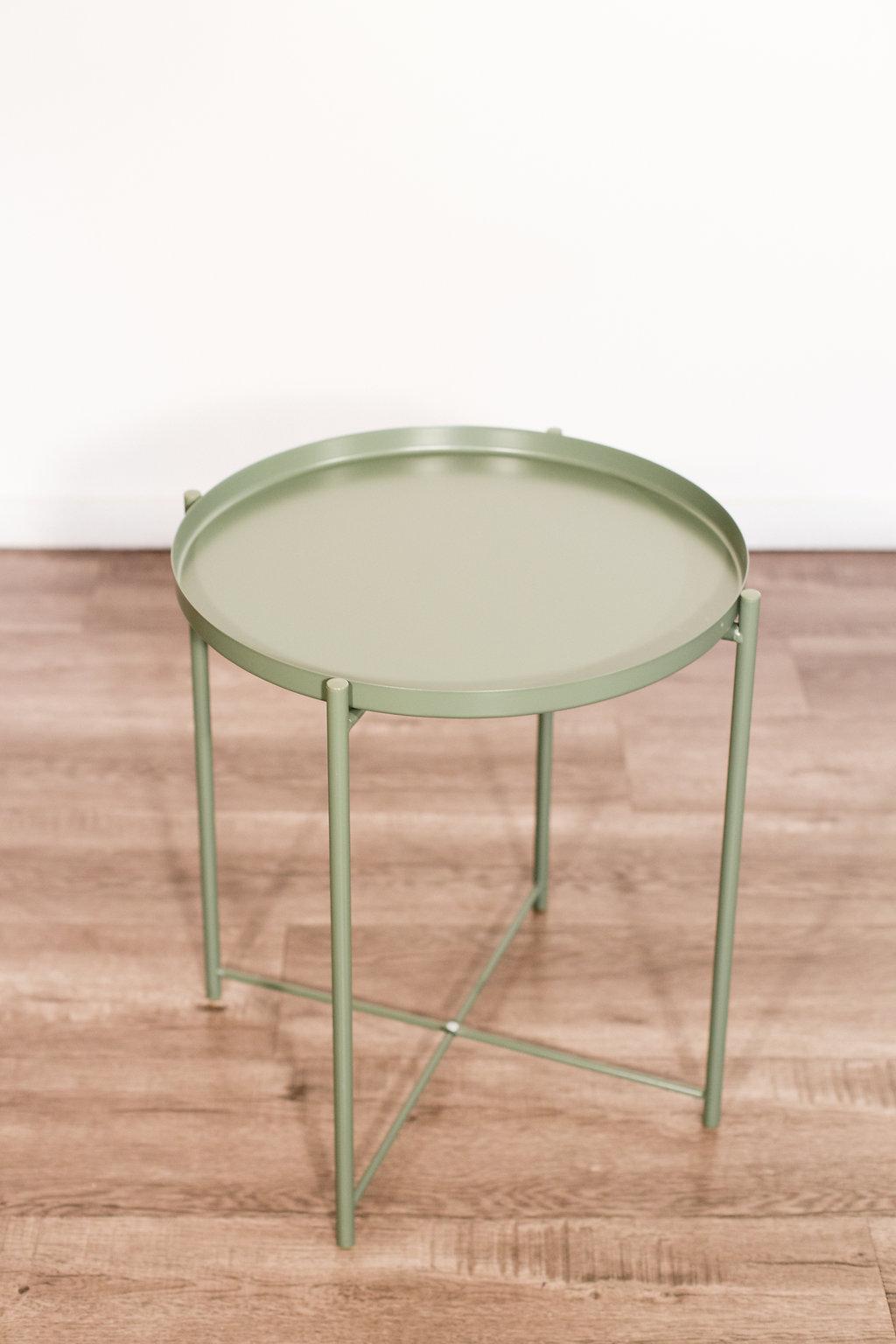 "Green Table 18"" diameter 21"" tall Quantity: 2 Price: $20"