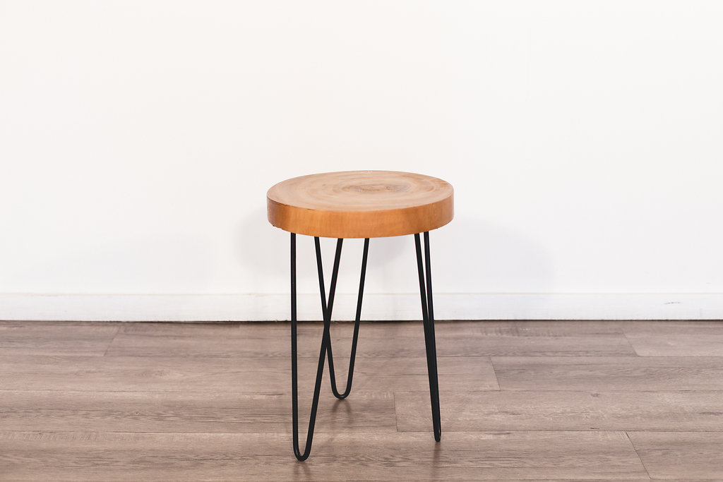 "Slab Wood Stools 13.5"" diameter 19"" tall Quantity: 2 Price: $50 EA"