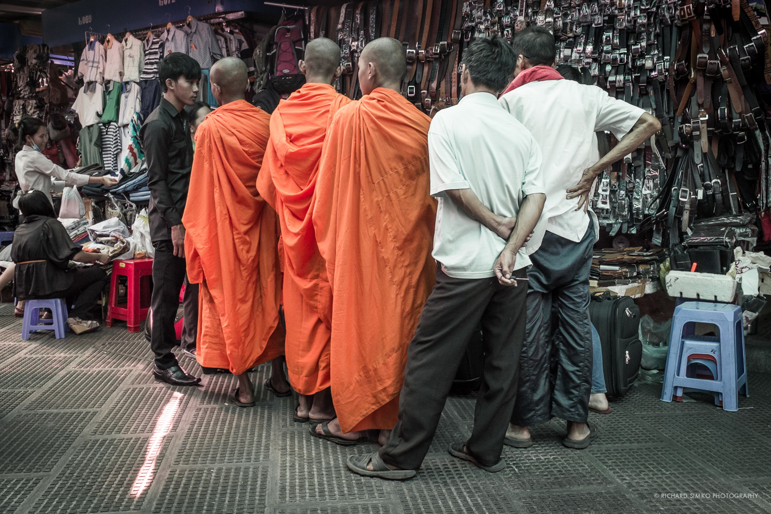 Monks are shopping in Phnom Penh's Central Market