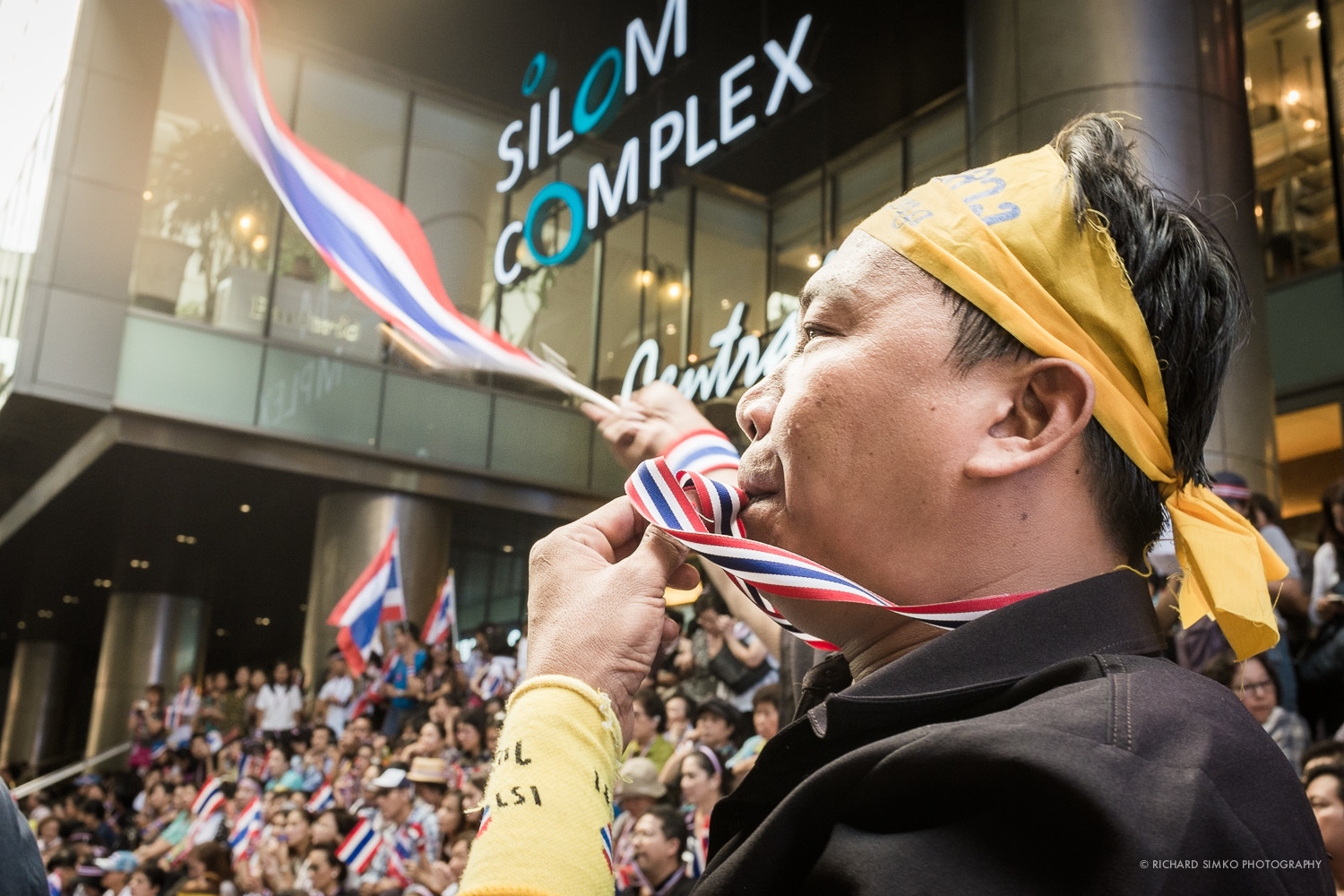 Face of Silom rally. The most enthusiast protester.