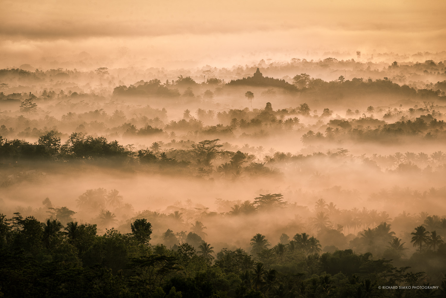 Mornings in the area of Borobudur temple are usually very hazy.
