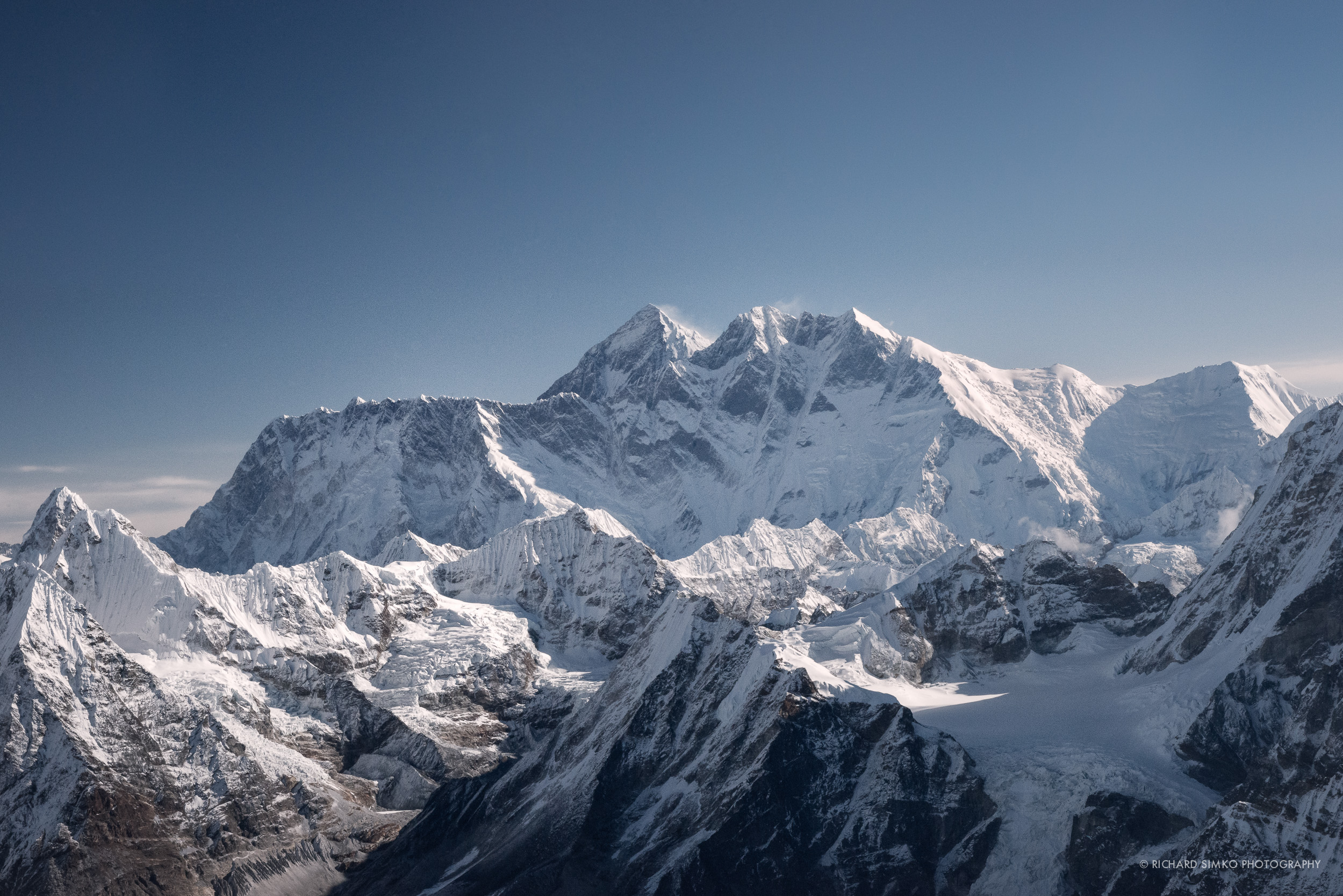 Mt Everest and Lhotse as seen from the summit of Mera Peak