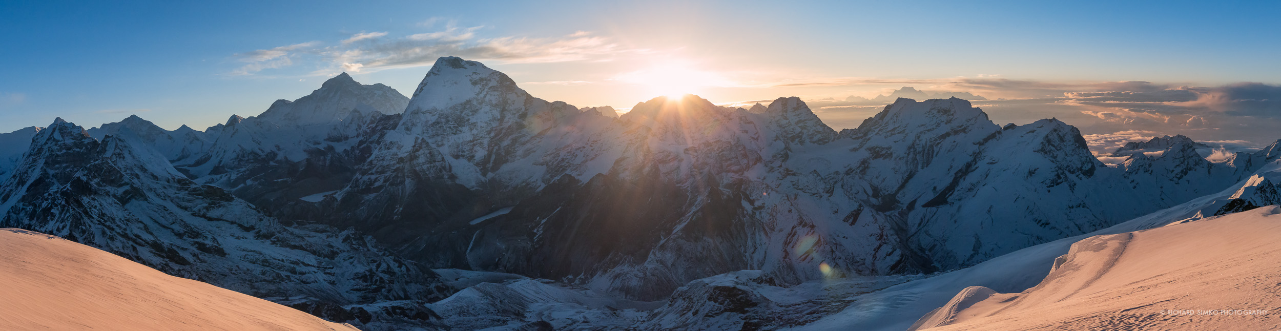 Makalu range in the morning sunrise. The high peak in front is Chamlang and one to the left is Makalu.