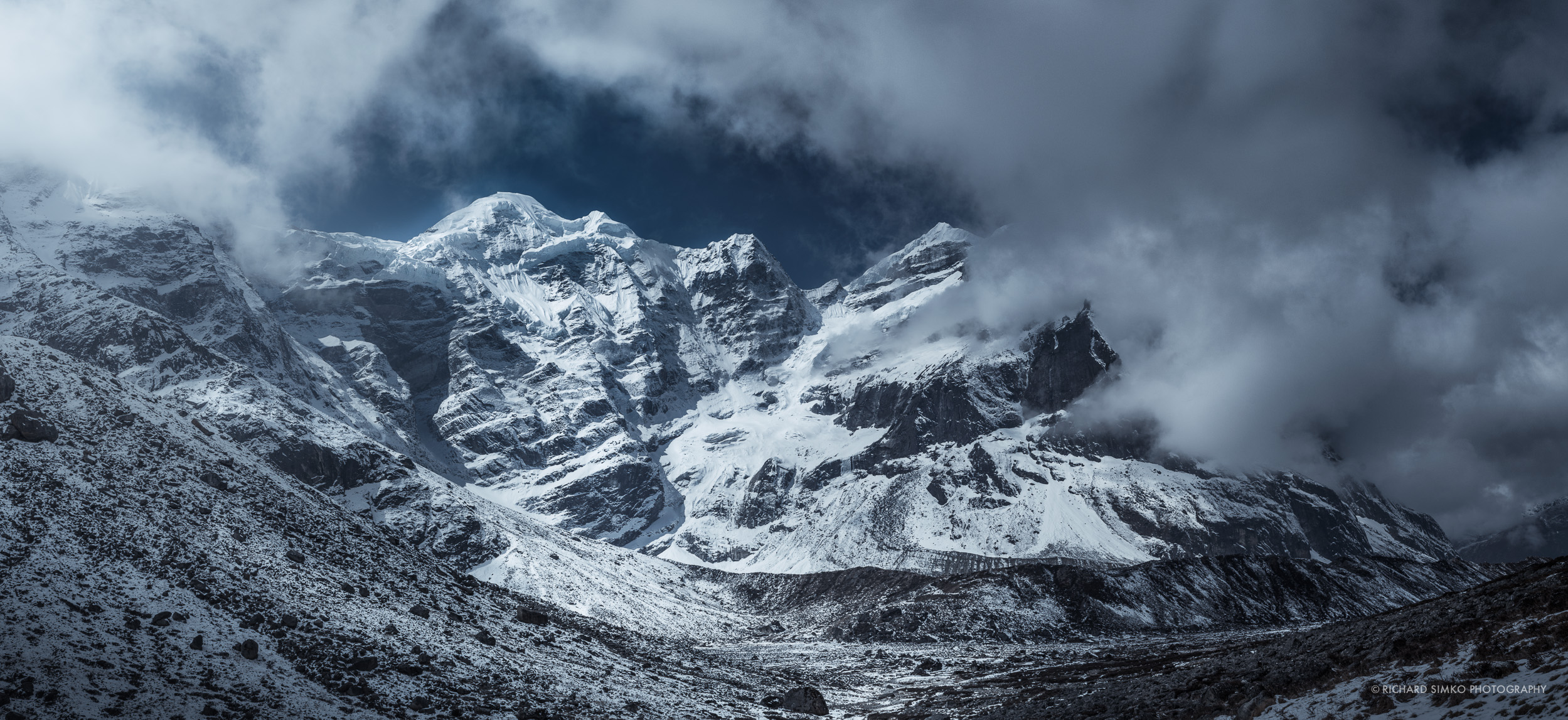 Mera Peak. Monsoon season is knocking on the door and clouds are rolling in after brief clear skies in the morning.