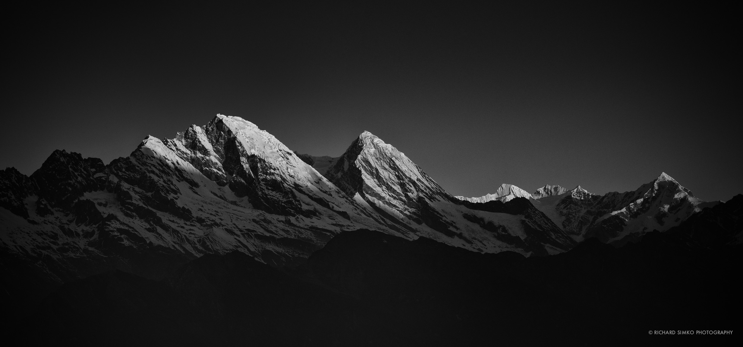 Sunrise in Himalayas is always spectacular. Peaks are hit by first morning sun rays as viewed from Chutanga.