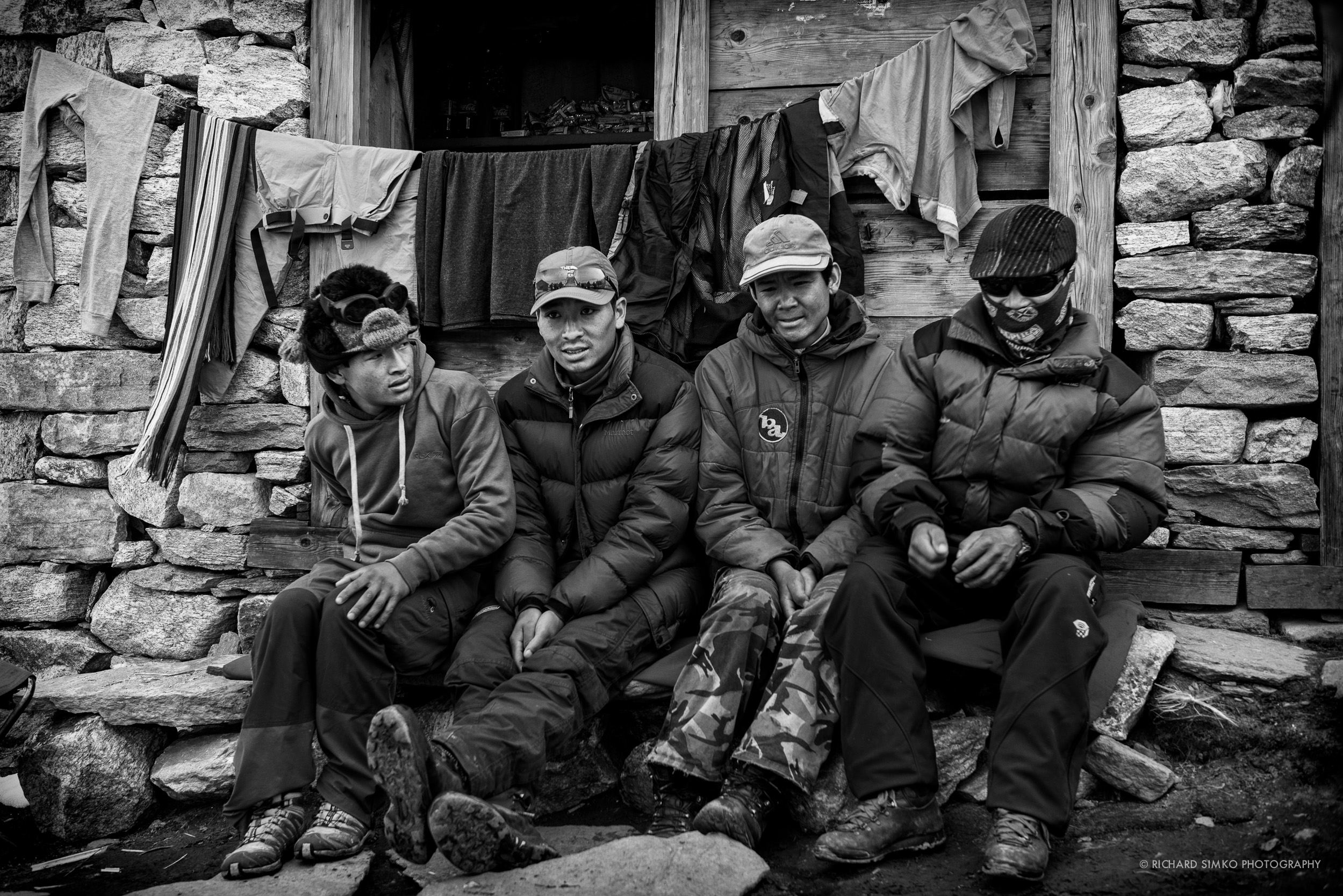 Sherpa porters resting in Khare. Second from left is Sonam Sherpa, my porter.