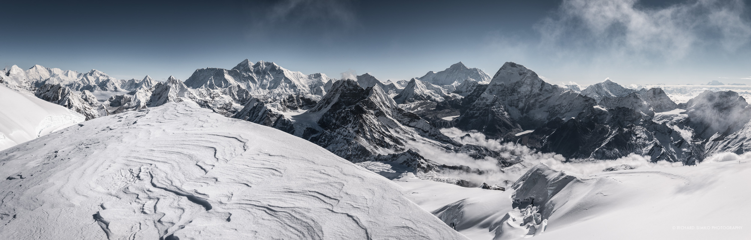 Everest Himalayan range panorama as seen from the summit of Mera Peak. Five eight thousand peaks are visible from this vantage point. From left it is Cho Oyu, Mt Everest, Lhotce, Makalu and Kanchenjunga.