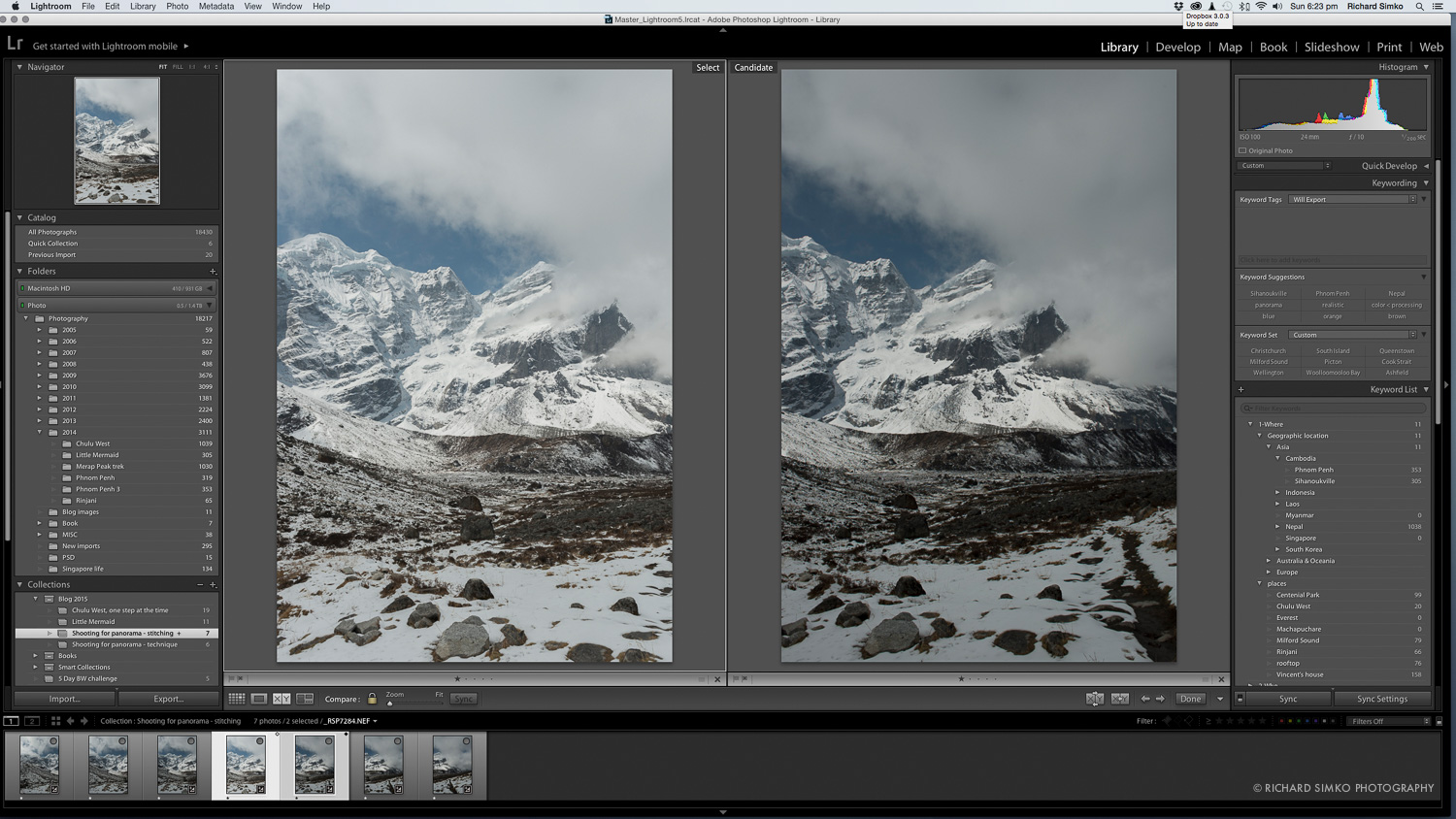 4. Difference between adjusted image (left) and original capture (right)