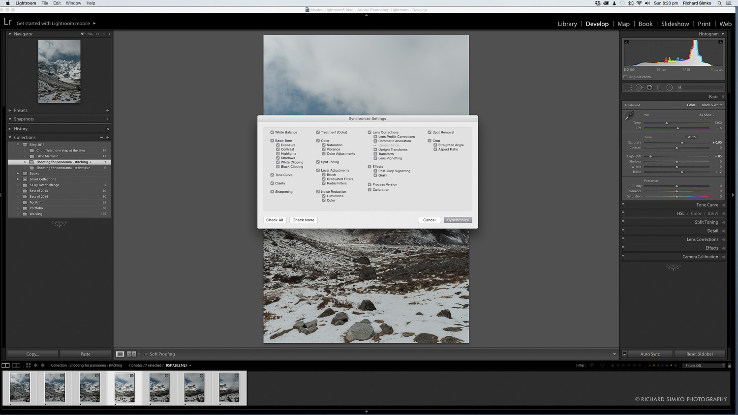 5. Synchronizing all settings with rest of the images.