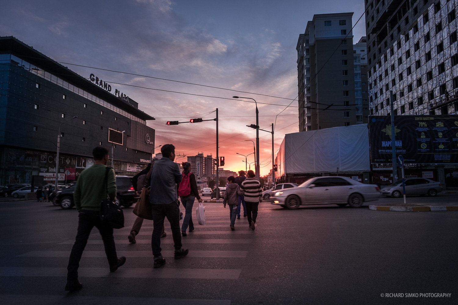 Sunset on the Peace Avenue, the longest, largest and main transit venue in Ulaanbaatar.