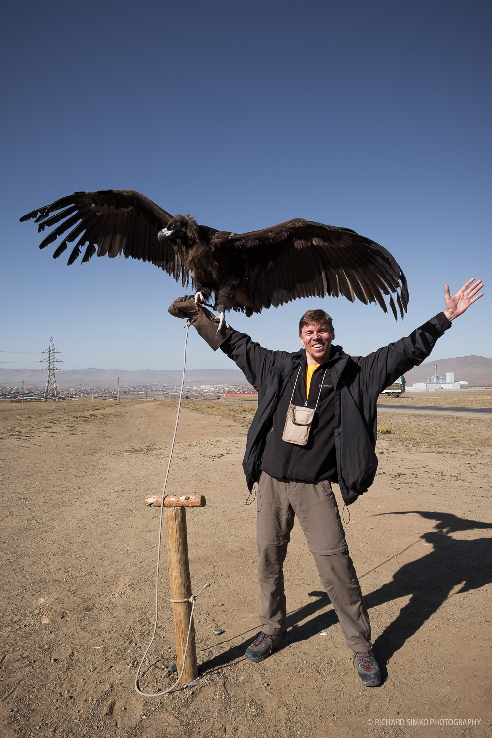Having fun with vulture. It is huge and it is heavy.
