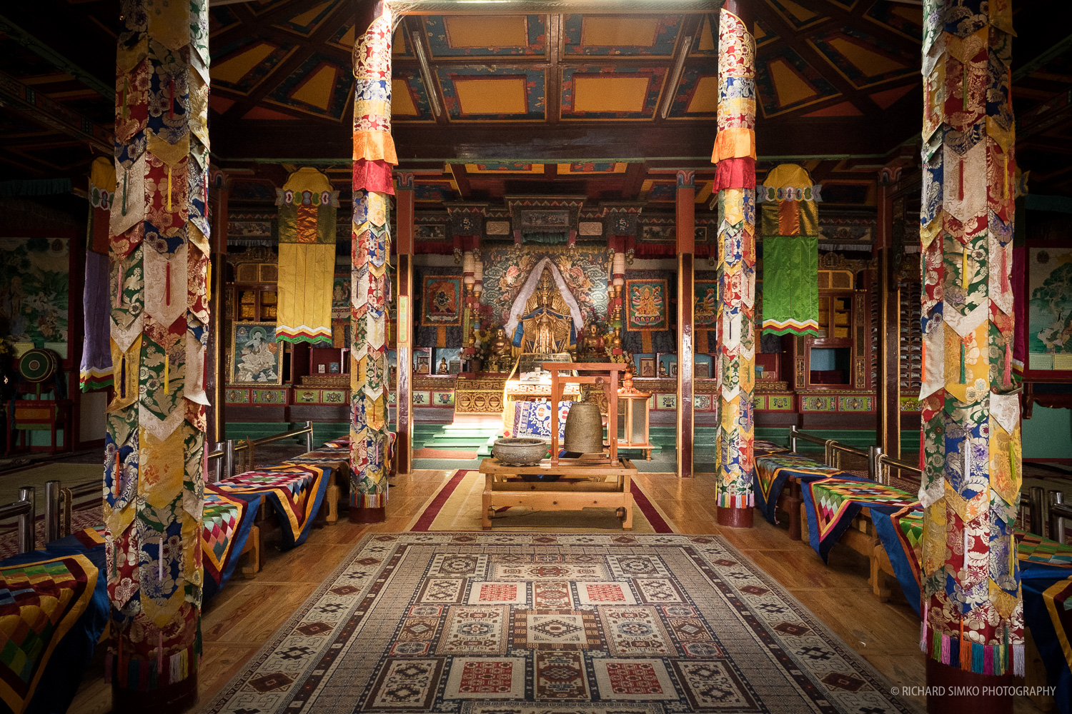 Inside the Buddhist Monastery located in Terelj National Park.