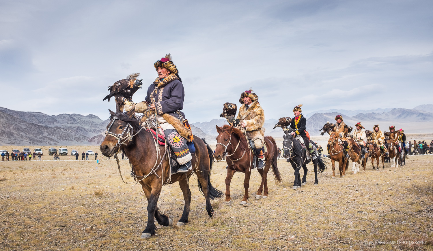 Festival open ceremony starts with presenting and parading all the eagle hunter competitors