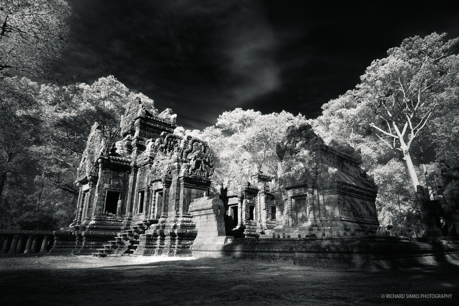 One of smaller temple in Angkor Thom complex.  Fujifilm X-T1, Fujinon 14mm   2.8 + Kenko IR filter
