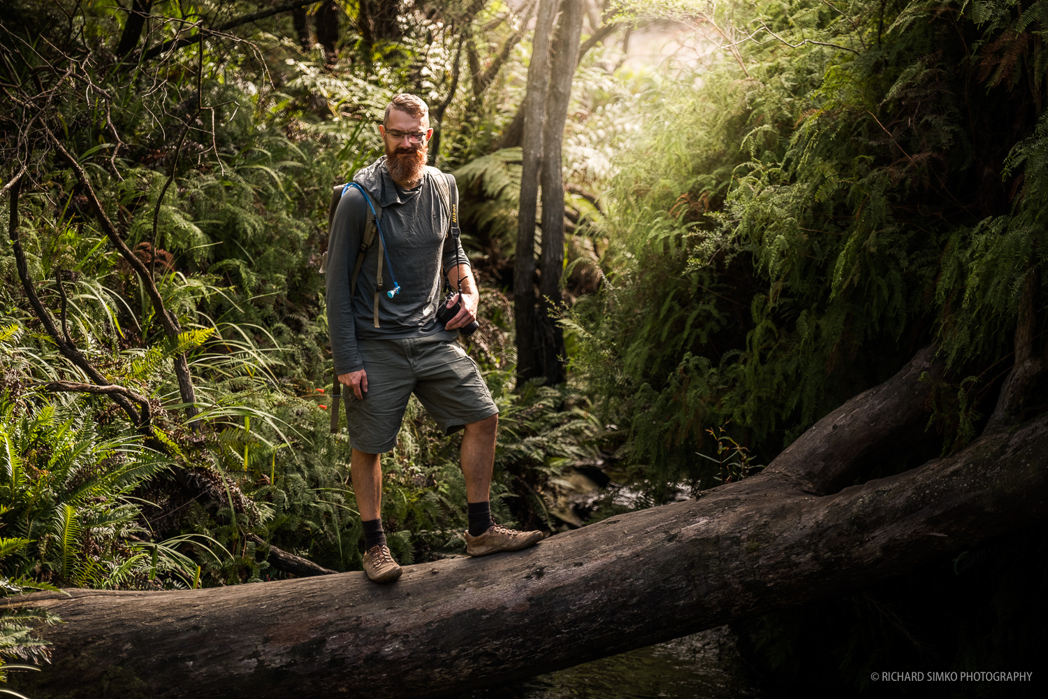 Etienne standing on a log, Wentworth Falls hike