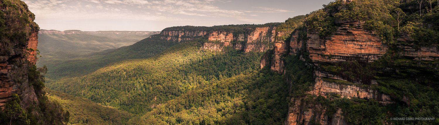 The view on the valley from to of big Wentworth Falls waterfall.