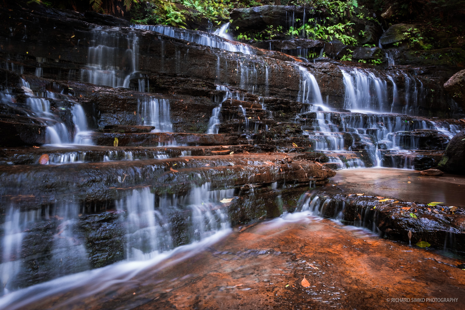 One of the bigger cascades at Wentworth Falls.track.
