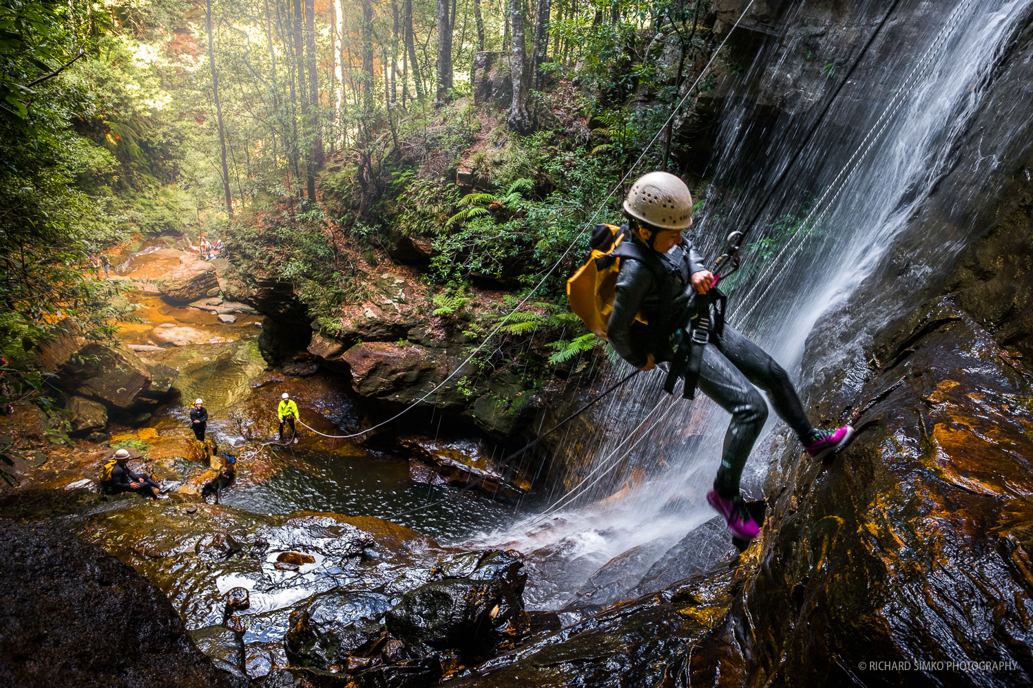 Canyoning at Wentworth Falls track. It's slippery and wet experience.