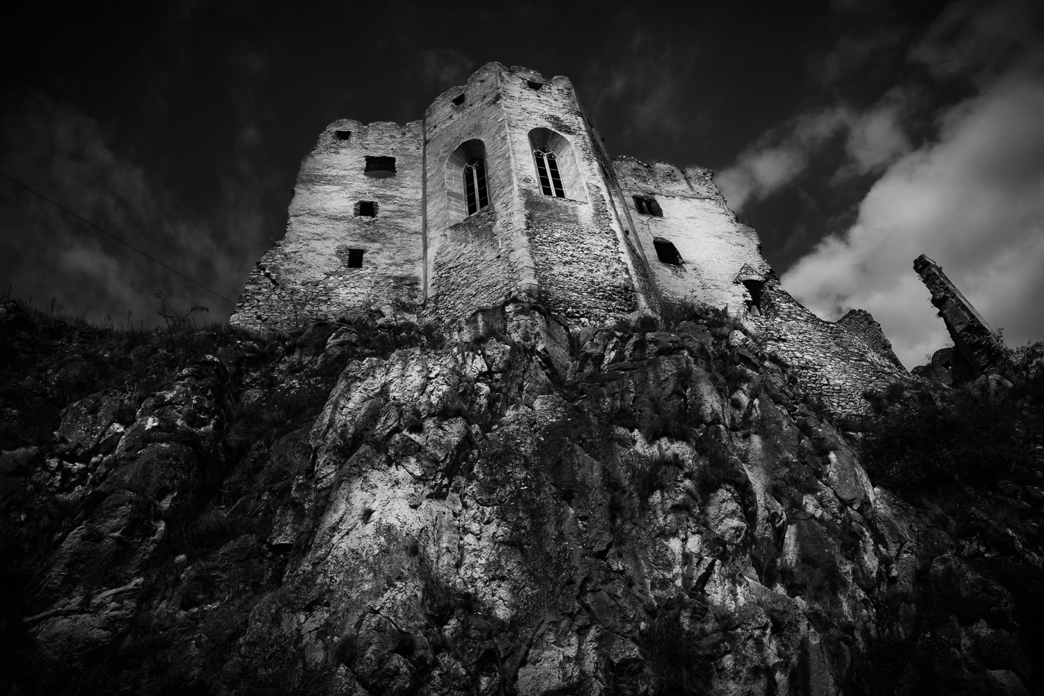 One of the towers inside Beckov Castle.I am sucker for a moody black&white photographs. Sometimes there is no other choice, only shoot the subject in the worst lighting conditions right in the middle of the day. More often than not, the results are less than satisfactory. BW conversion such as this can salvage the photograph create a reasonably useful image,