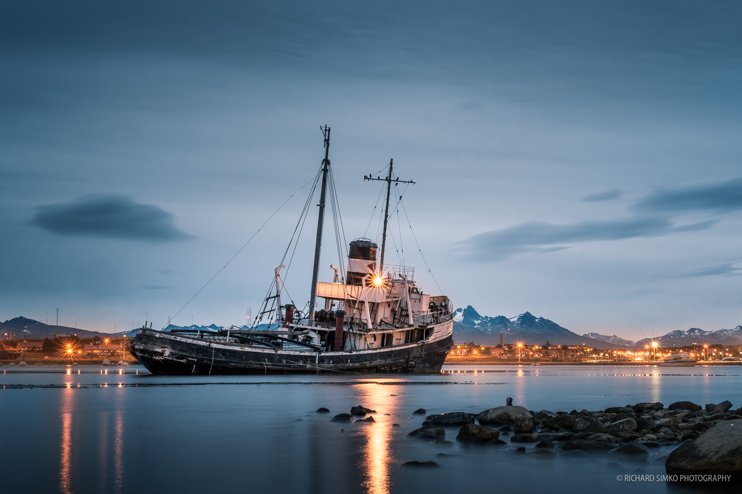 St Christopher tug boat stranded on the shores in Ushuaia.