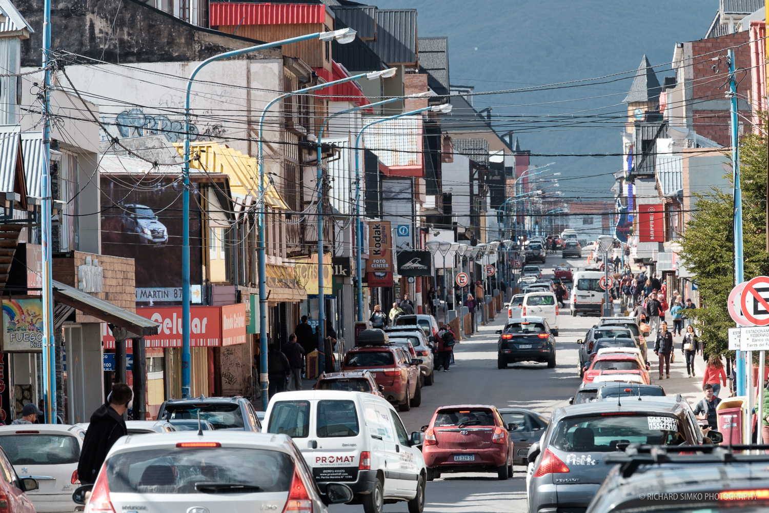 Avenue St Martin, the main street in Ushuaia where most of the shops and restaurants are located.