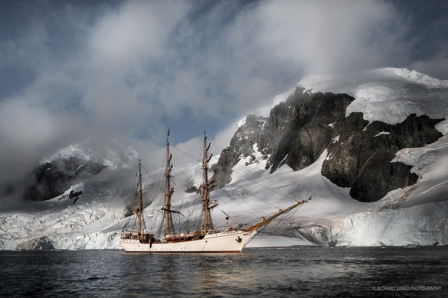 Europa on anchor in Antarctic waters